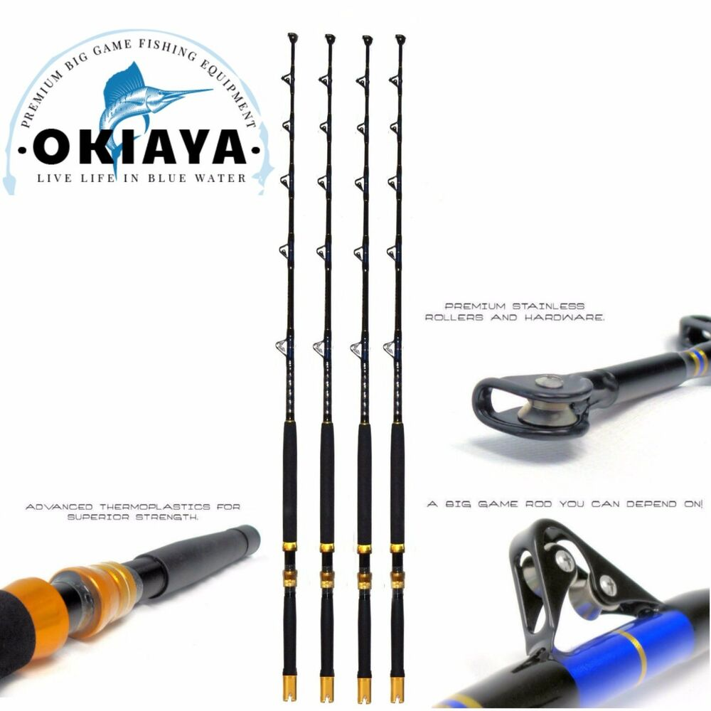 Saltwater fishing rods 30 80lb 4pack fishing poles for Offshore fishing rods