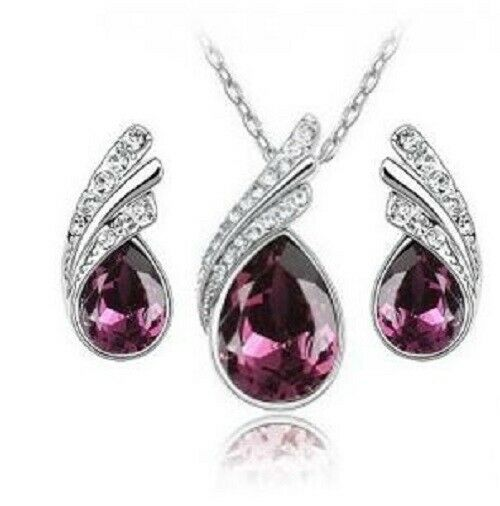Blue Crystal Jewellery Set Pendant Necklace Earrings Faux