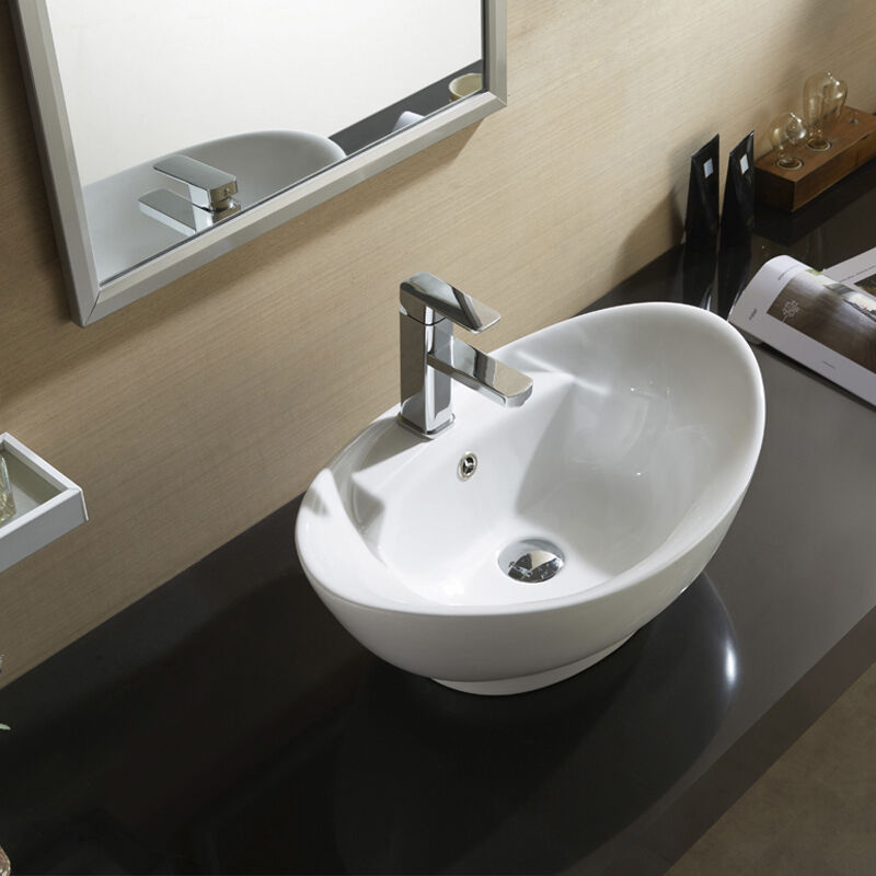 Designer oval counter top basin sink bowl ceramic for bathroom or cloakroom ebay - Designer sinks ...