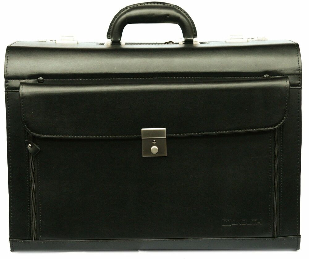 New black leather pilot case large briefcase flight bag for Laptop cabin bag