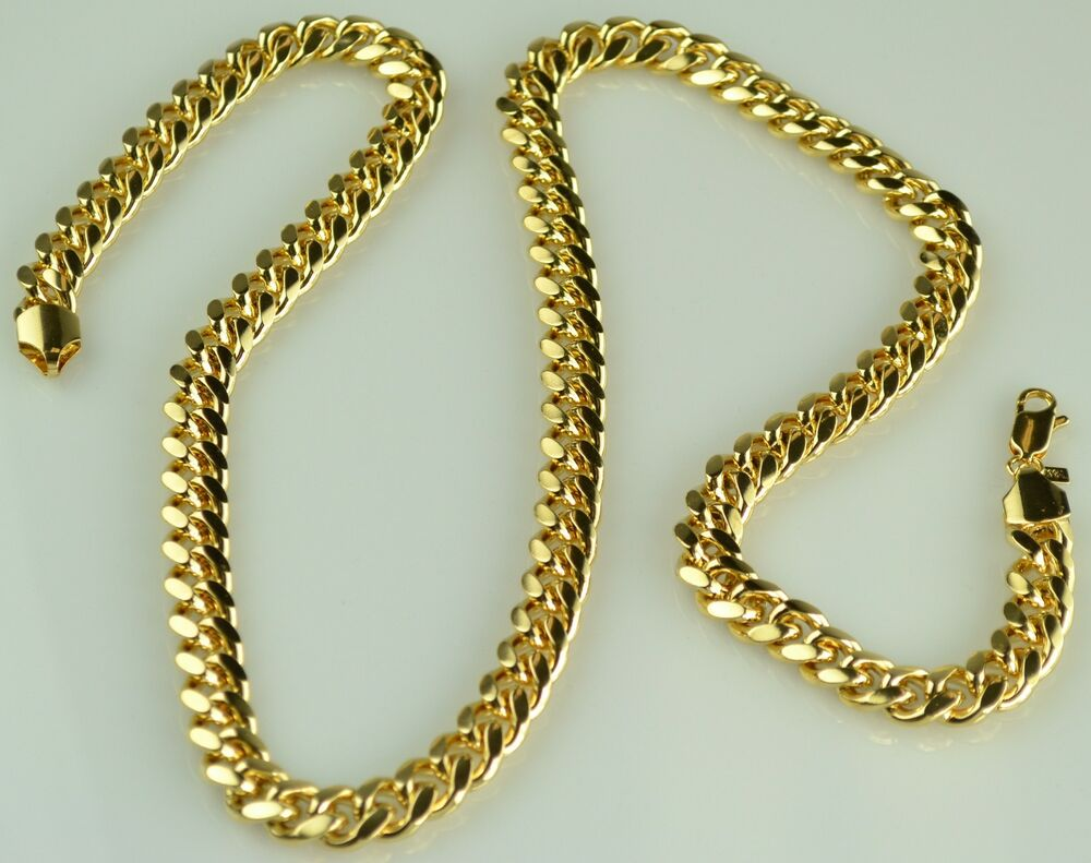 Mens heavy 18k yellow gold filled cuban link chain for Cheap gold jewelry near me