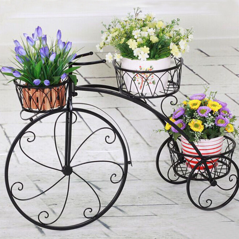 3 tier white metal bicycle pot plant stand home garden for Patio and outdoor decor