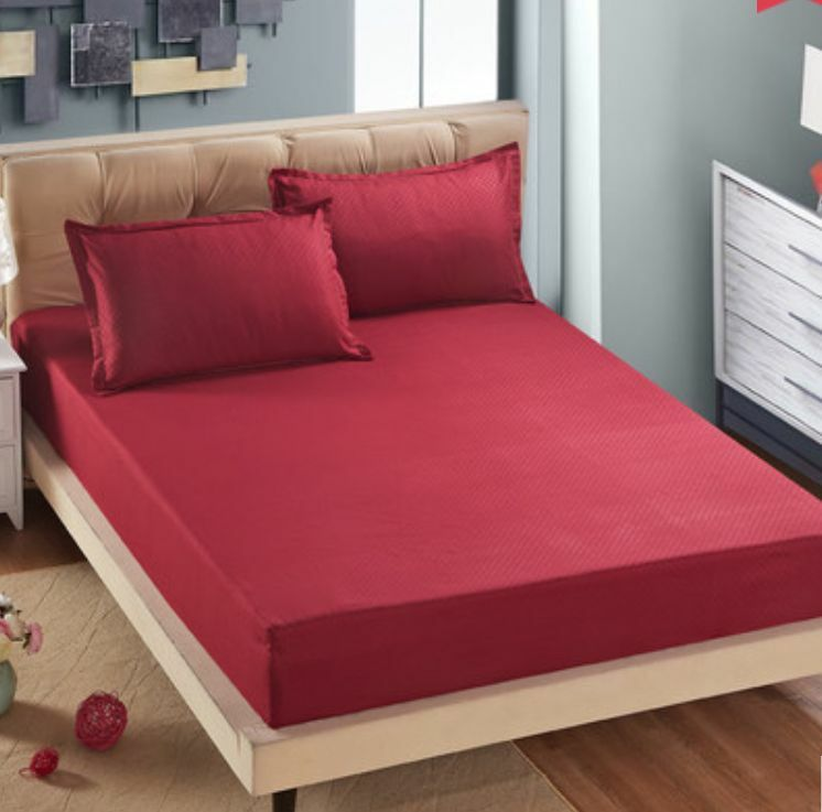 Red Fit Plain Color Queen King Size Mattress Cover Bed