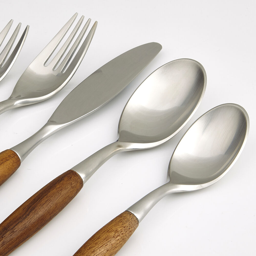 Homestia wood handle flatware set stainless steel kitchen cutlery western dinner ebay - Flatware with wooden handles ...