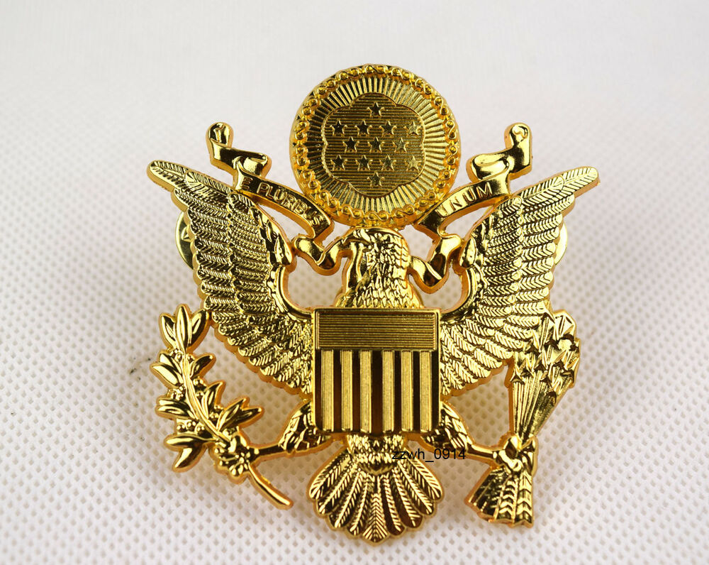 WWII US ARMY MILITARY OFFICERS CAP EAGLE BADGE INSIGNIA ...