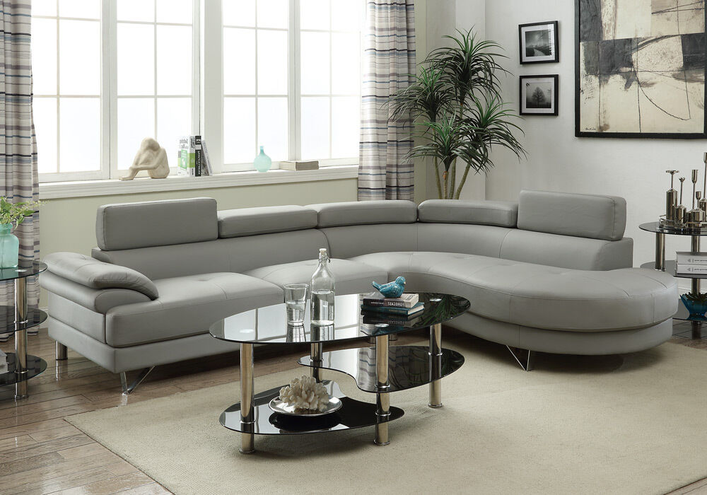 Living Room Curved Sectional Sofa Couch Round Chaise Grey
