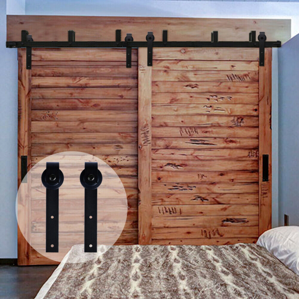 4ft 20ft Country Bypass Double Wood Sliding Barn Door