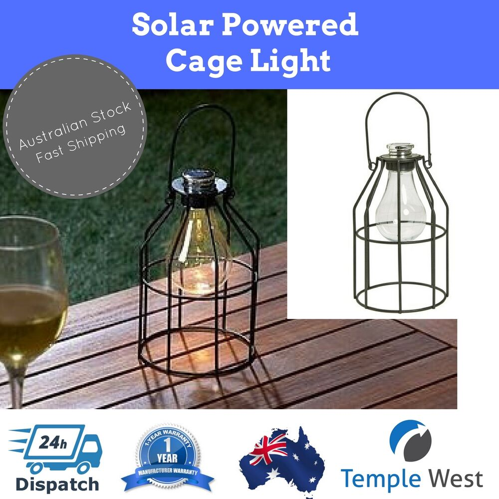 4 X Solar Light Metal Industrial Style Cage Outdoor