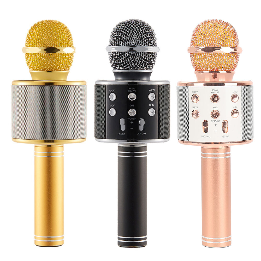 WS-858 Wireless Karaoke Handheld Microphone USB KTV Player Bluetooth Mic Speaker
