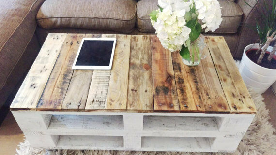 Pallet coffee table lemmik farmhouse style rustic for Pallet shabby chic