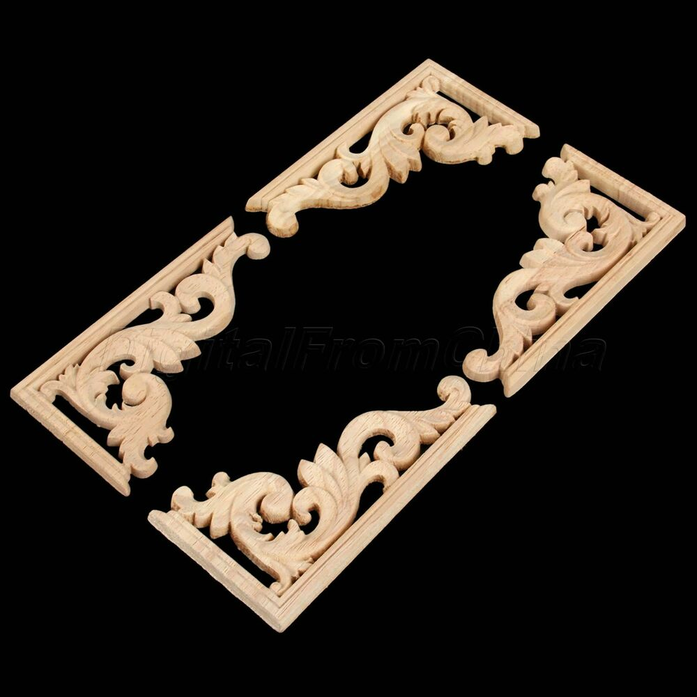 Wood carved corner onlay vintage applique frame wall doors for Decorative wood onlays