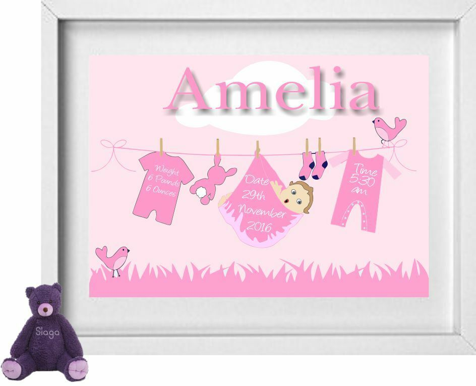 Free Baby Gifts Uk : Baby girl name personalised picture new gift