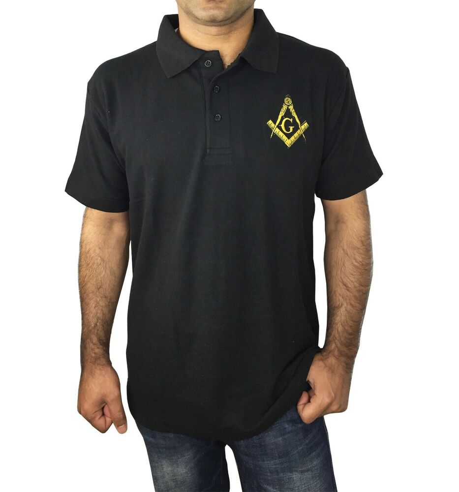 Masonic golf polo shirt with embroidery logo black grey for Black golf polo shirt