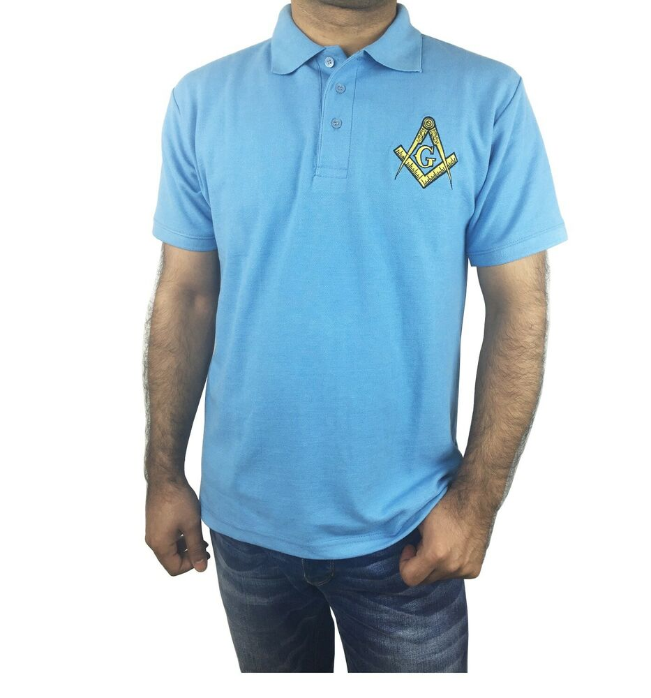 Masonic polo shirt with embroidered square compass g for for Polo shirts with embroidery