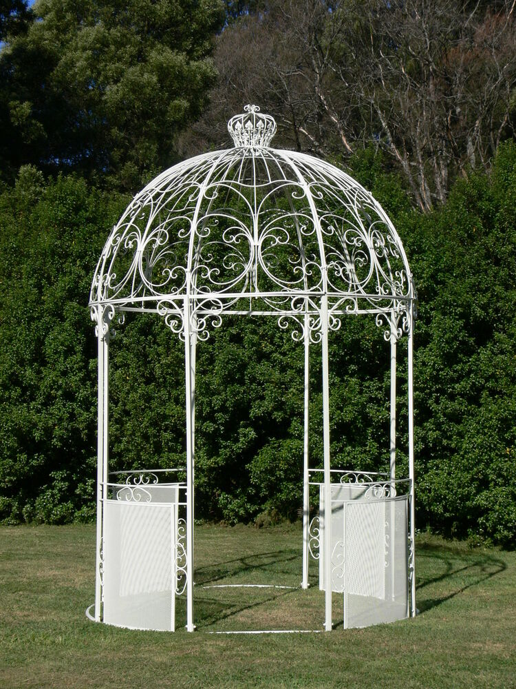 Ivory French Style Wrought Iron Arch Portico Garden Gazebo