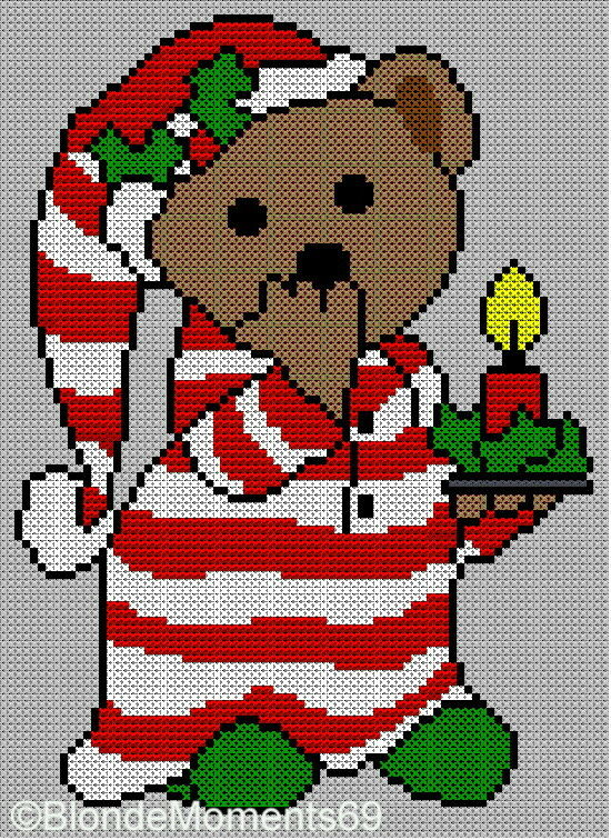 Simple Lace Knit Pattern : Christmas Bedtime Teddy Bear Jumper Sweater Knitting Pattern Xmas Intarsia ...