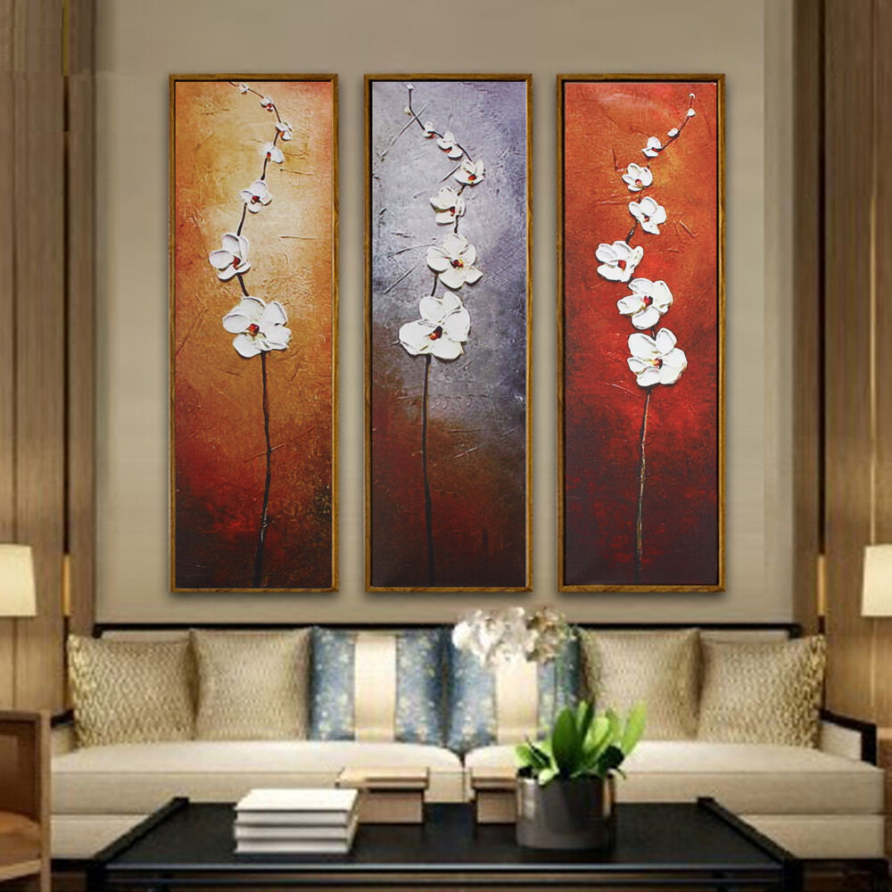 3PCS Unframed Colorful Flower Canvas Abstract Painting