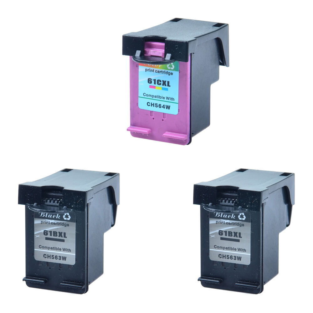 2 Black CH563W + 1 Color CH564W Ink Cartridge For HP 61XL ...