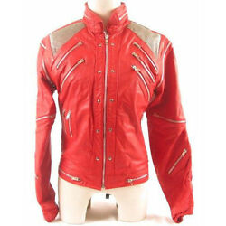 Michael Jackson Beat it ''MJ Beat it'' Real Leather Jacket with real metal mesh