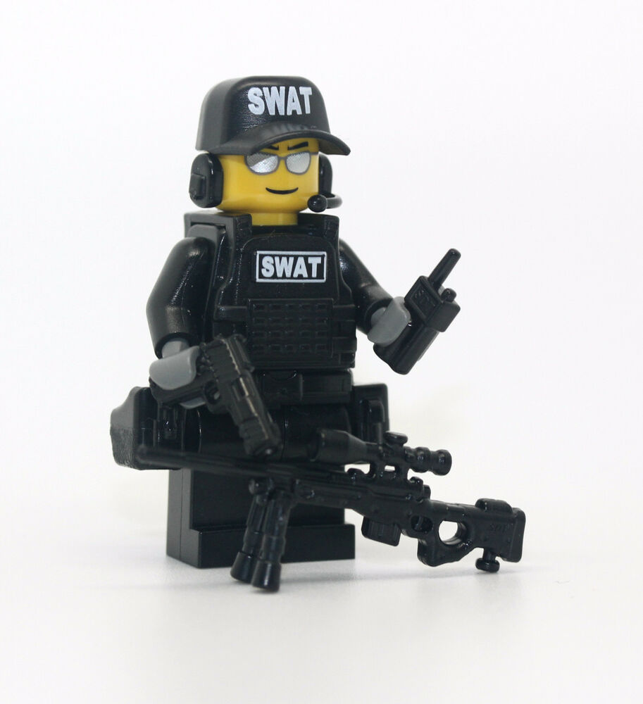 Lego Swat Photo1: SWAT Police Officer Sniper Minifigure Made With Real LEGO