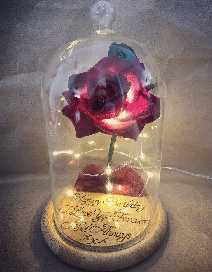 Beauty And The Beast Enchanted Rose Personalised Wood