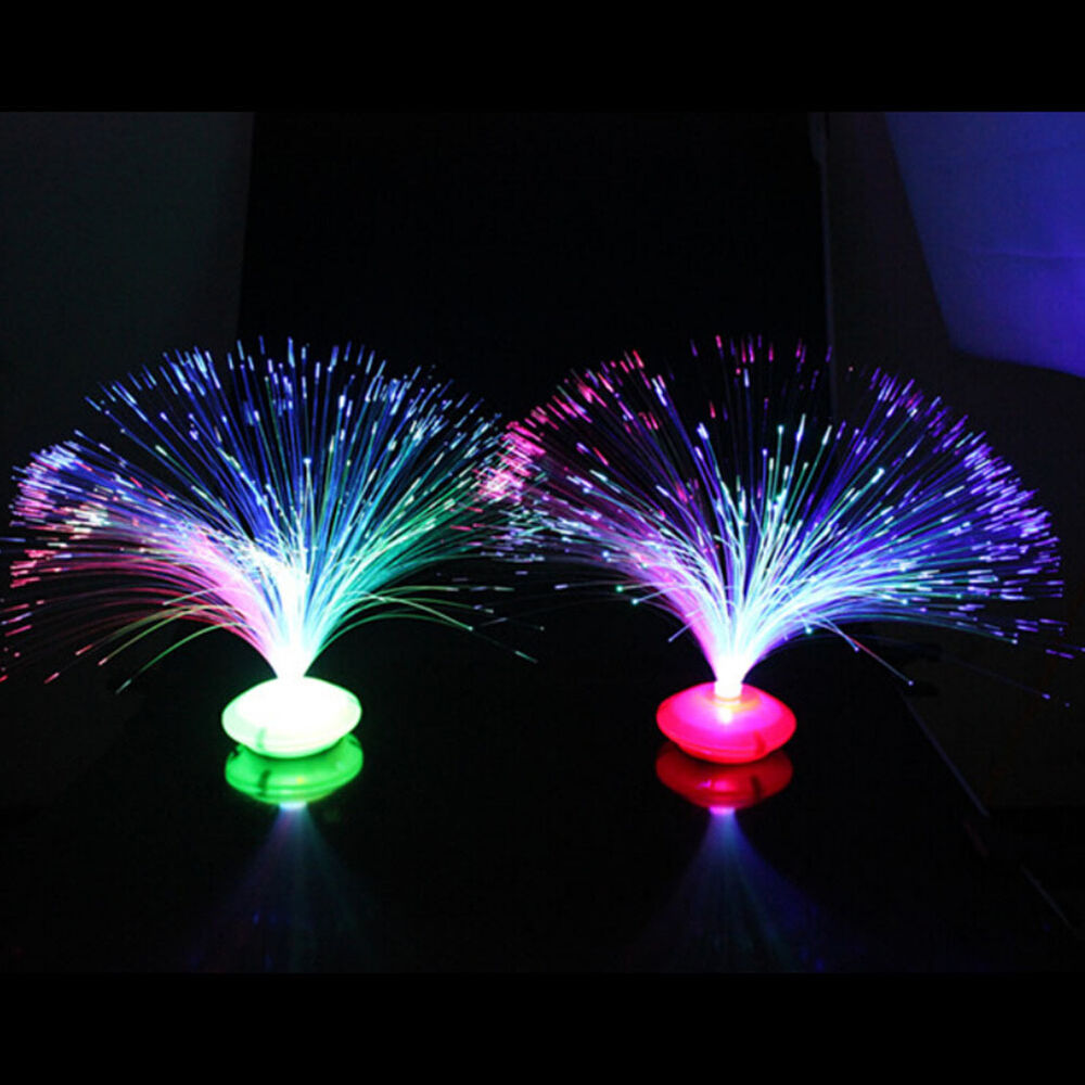 Colorful Changing Led Fiber Optic Night Light Lamp Stand Home Decor Colorful Ss Ebay