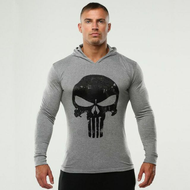 The punisher men gym thin shirts long sleeve hoodies for Boys long sleeve shirt with hood