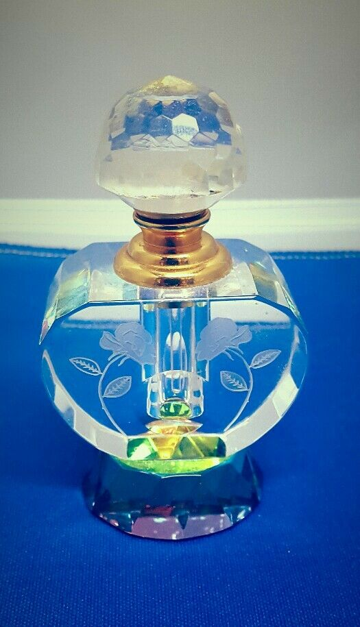 Details about VINTAGE CRYSTAL FACETED PERFUME BOTTLE WITH DAUBER & SCREW  TOP RAINBOW PRISM