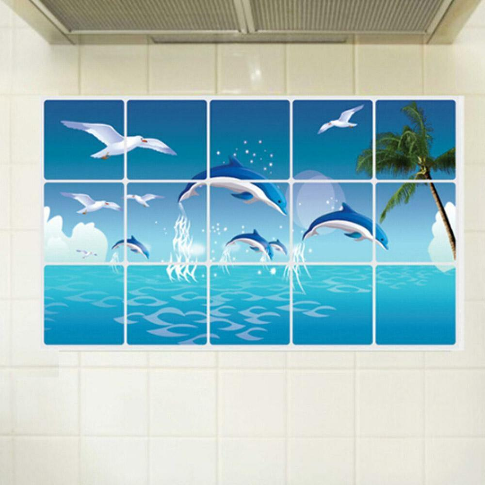 Dolphin kitchen bathroom waterproof sticker tile for wall for Bathroom tile stickers