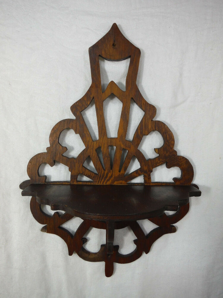 Antique arts crafts small wood compass wall shelf hand for Arts and crafts candle sconces