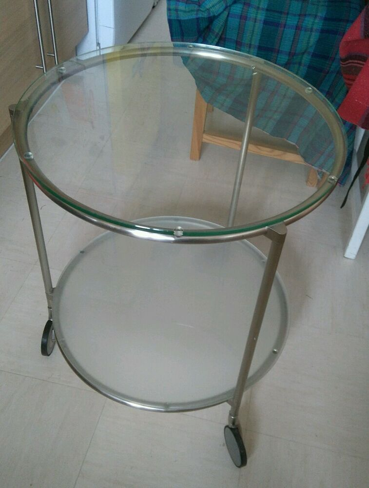 Ikea Round Glass Portable Side Coffee Table Ebay