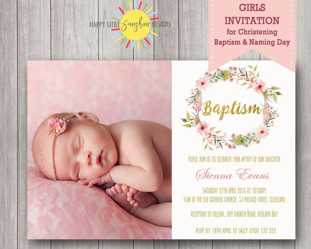 Printable Girls Christening Naming Day Invitation Floral Feathers
