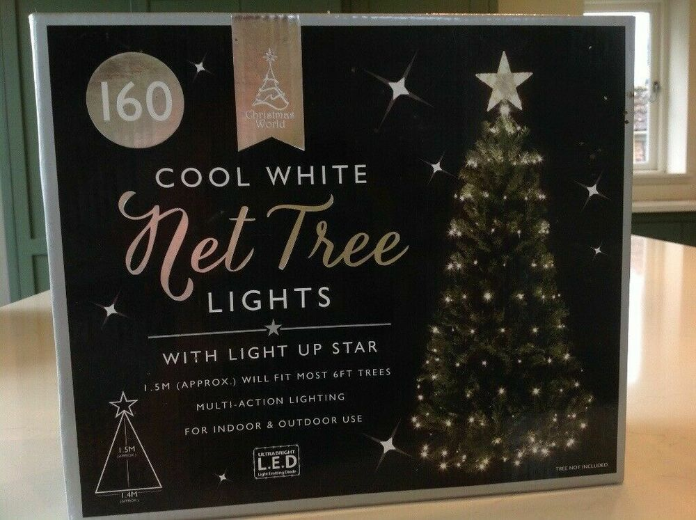 New elegant 160 led tree net christmas light with star ebay for 160 net christmas decoration lights clear