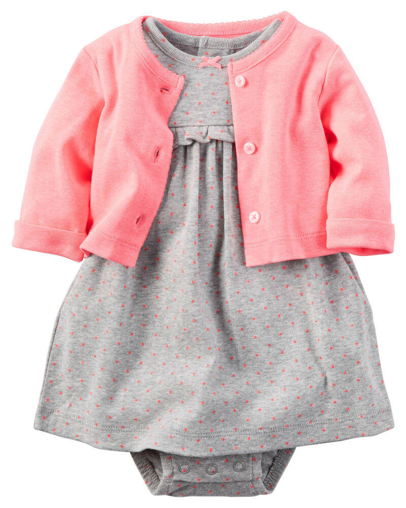 Carters Newborn 3 6 9 12 Months 2pc Dress & Cardigan Set