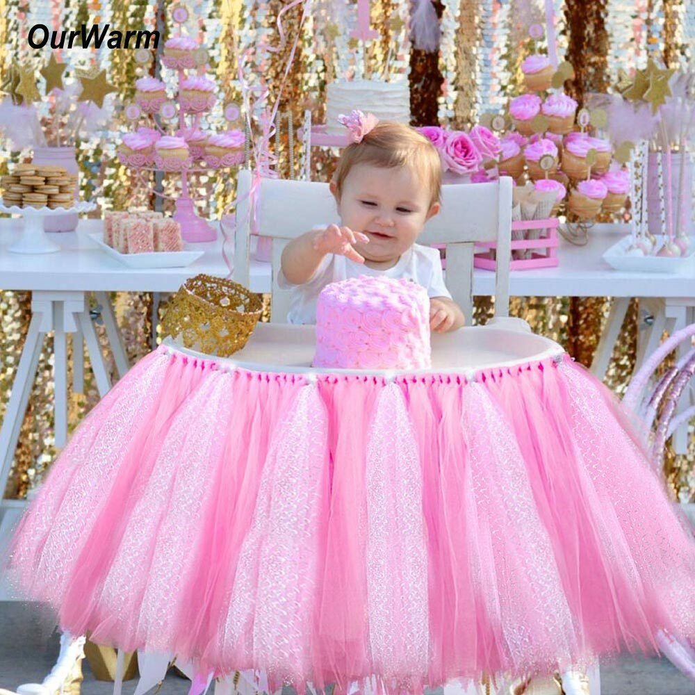 Glitter Tutu Tulle High Chair Skirt Wrap Baby Shower 1st