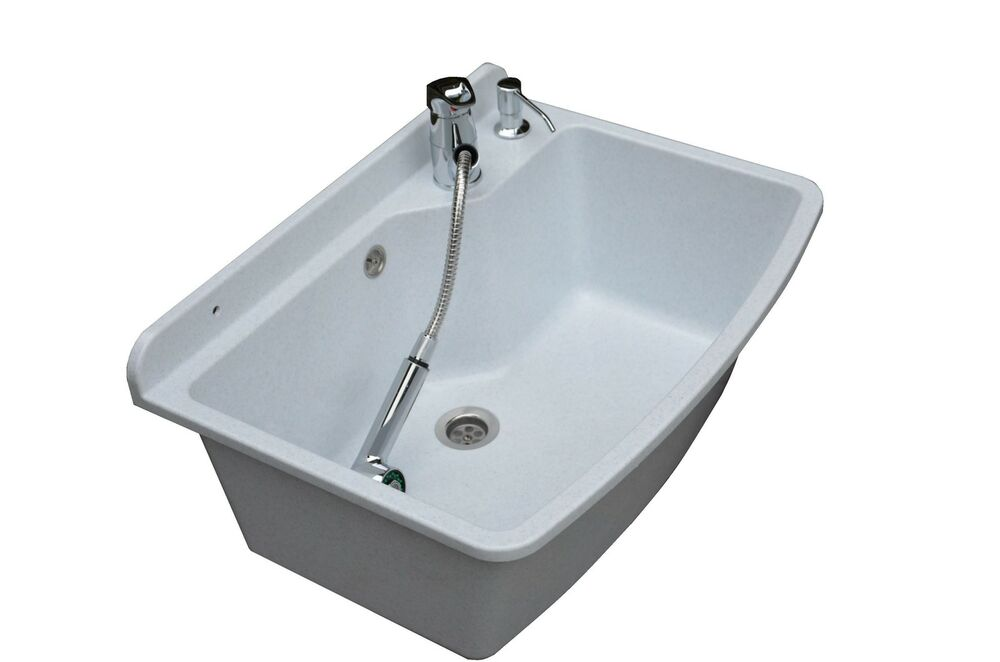 Granite Laundry Sink : Tough Sink MAXIMUS white granite - laundry,utility, industrial,garage ...