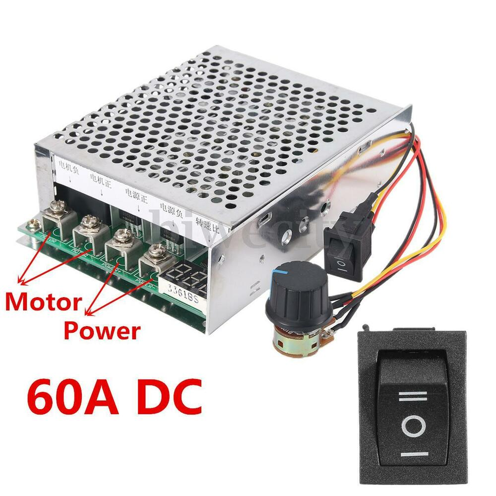 60a dc 12v 24v 36v 48v variable speed motor reversible for 36v dc motor controller