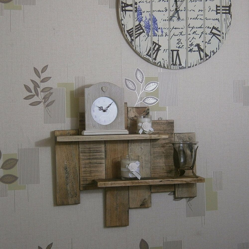 Shelf Solid Wood Wall Art Rustic Industrial Country Shabby Chic ...