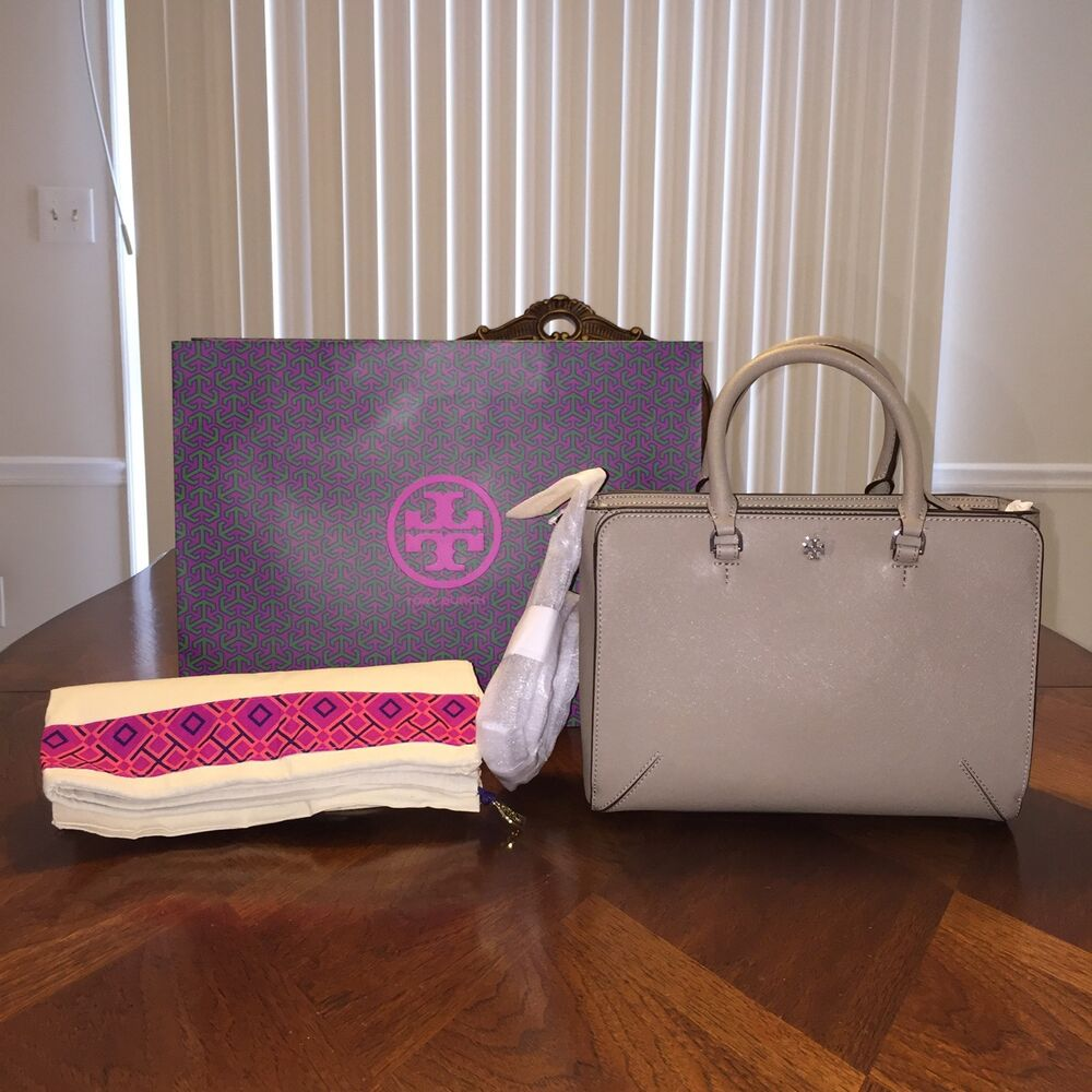 c0d72bf308cb NWT TORY BURCH ROBINSON SMALL ZIP TOTE FRENCH GRAY 190041169993