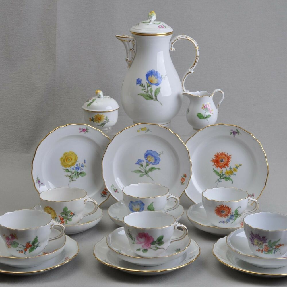 meissen kaffeeservice f r 6 personen blume 1 2 21 teile kernst ck 6 gedecke ebay. Black Bedroom Furniture Sets. Home Design Ideas