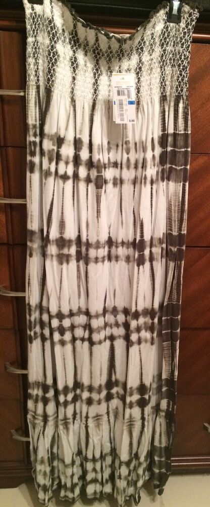 290d5974e1b45 Details about XL MICHAEL KORS Rich Olive Cotton Tie-dye Smocked Strapless  MAXI DRESS NWT