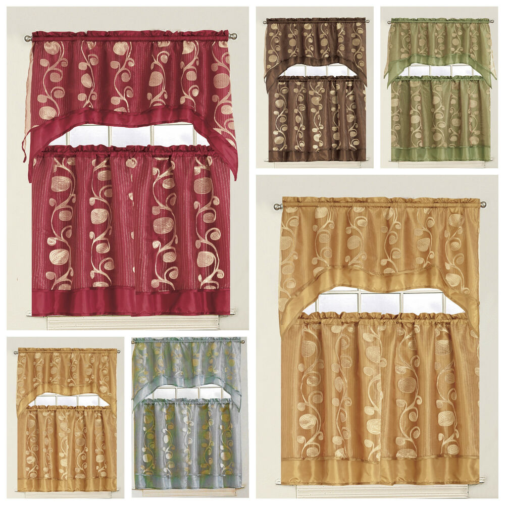 3 Piece Floral Kitchen Curtain With Swag And Tier Window Treatment Set, Olive