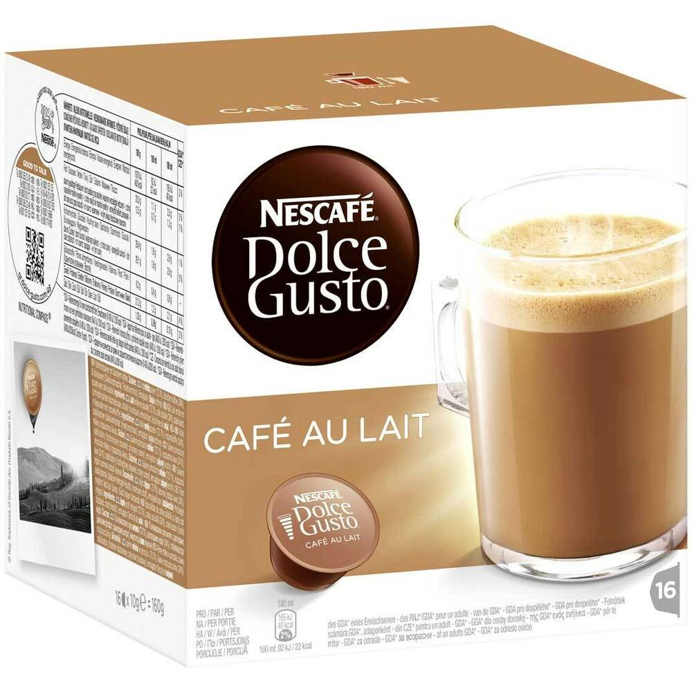 nescafe dolce gusto cafe au lait coffee pods 16 pods ebay. Black Bedroom Furniture Sets. Home Design Ideas
