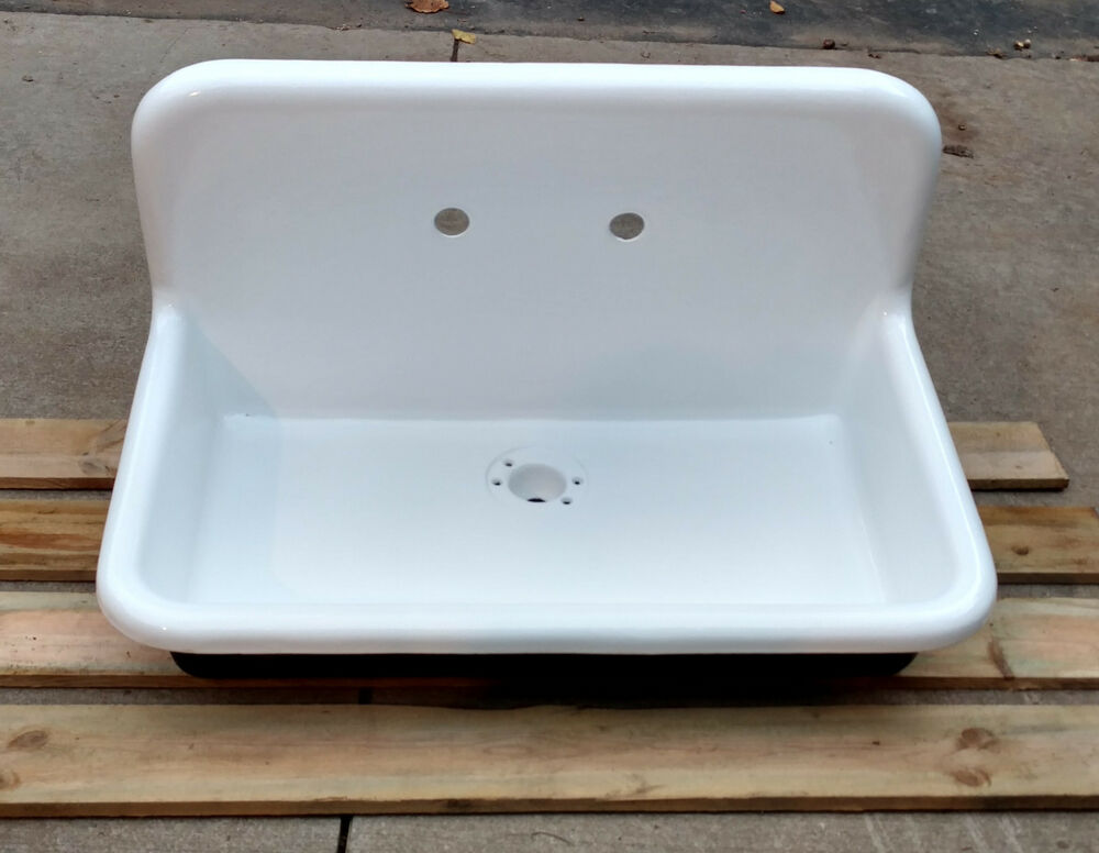 antique refinished 22x36 high back farm sink cast iron porcelain wall mount sink ebay. Black Bedroom Furniture Sets. Home Design Ideas