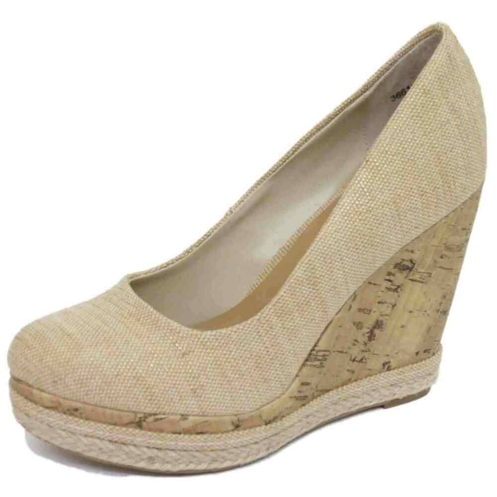 Beige And Black Court Shoes