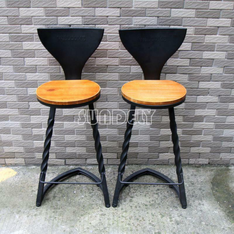 2 Industrial Urban Bar Stool Wooden Top Shabby Vintage