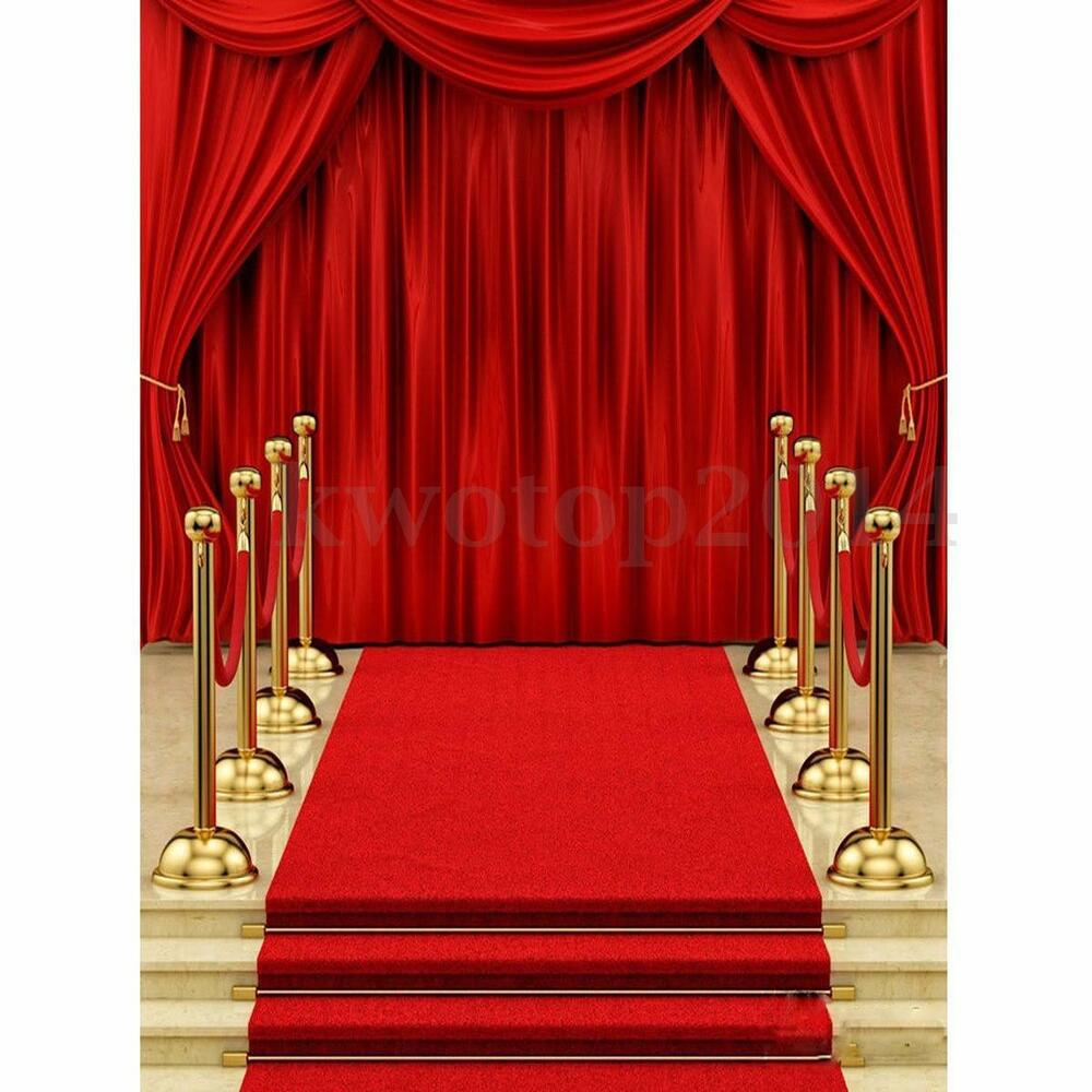 5x7ft vinyl red carpet curtain backdrop photography background photo studio prop ebay - Red carpet photographers ...