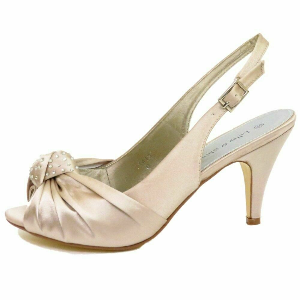 bridesmaid wedding shoes womens light gold satin bridal bridesmaid peep toe 2084