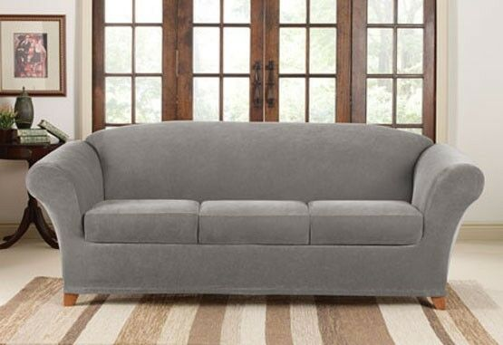sure fit flannel gray 3 cushion stretch pique sofa surefit slipcover ebay. Black Bedroom Furniture Sets. Home Design Ideas