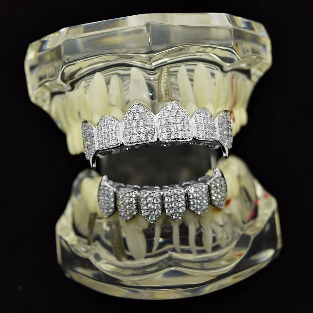Cz Fangs Grillz Set Silver Tone Vampire Iced Out Micro
